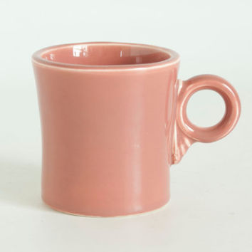 Vintage Original Fiesta Ware Rose Mug, Loop Handle Coffee Cup with Fiestaware Ink Stamp