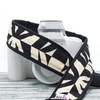 Tiki dSLR Camera Strap, Black and Ivory, Pocket, Quick Release, Canon Nikon, Replacement, Mirrorless, Geometric, SLR, 104