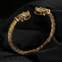 Ancient Gold Silver Fashion Punk Dragon Cuff Bracelet for Women Men Bangles Charms Bracelets Men Pulseira Jewelry Gifts