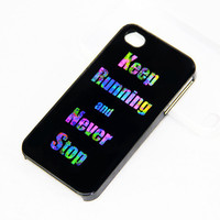 Keep Running Style iPhone 4S/4 Case,iPhone 5 Case,iPod Touch 5 and 4 Case,Rubber Case and Plastic Case
