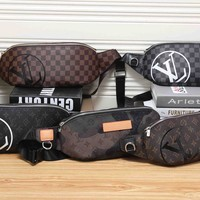 """Louis Vutitton""  Men Casual Retro Fashion Tartan Letter Logo Waist Bag Single Shoulder Messenger Bag"