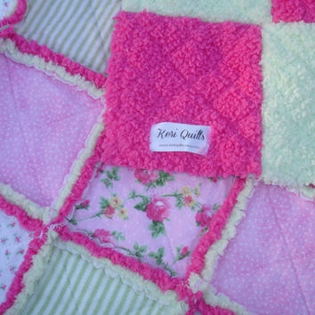 Baby Girl Rag Quilt Blanket or Rag Throw - Pink, White, Lime - Flannel, Soft and Fluffy