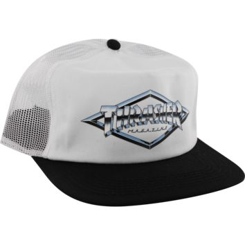 THRASHER DIAMOND EMBLEM MESH HAT ADJ-WHT