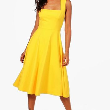 Eva Square Neck Midi Skater Dress | Boohoo