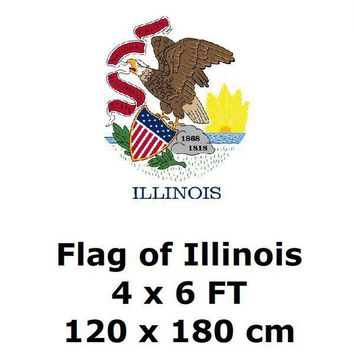 Illinois Flag 4` x 6` FEET 100D Polyester State of US USA American United States Flags and Banners For Home Decoration