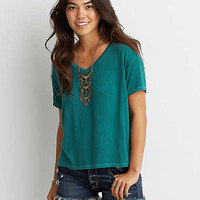 AEO Soft & Sexy Sky High V-Neck T-Shirt , Pine