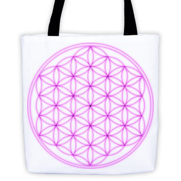 Magenta Flower of Life Tote bag