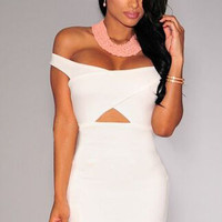 White Off-Shoulder Cut Out Mini Dress