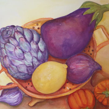 Fabulous Fall Eggplant, Artichoke, Purple Onion, Lemon, Garlic and Little Pumpkins Painting watercolor, Original Still Life