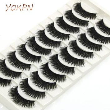 YOKPN Thick False Eyelashes Handmade Black Terrier Cross Exaggerated Eye Lashes Fashion Ball Smoke Makeup Fake Eyelashes 10 pair
