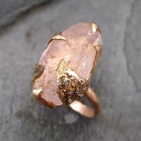 Raw Rough Morganite Diamond 14k Rose gold Ring Gold Pink Gemstone Cocktail Ring Statement Ring Raw gemstone Jewelry