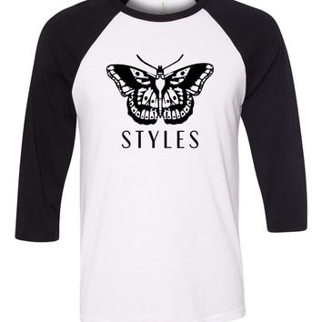 "Harry Styles ""Butterfly Tattoo / Styles"" Baseball Tee"