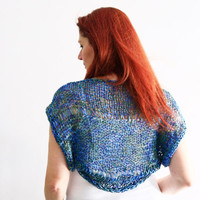 Blue green shrug, summer wear, Ariane, handmade loose knit shrug