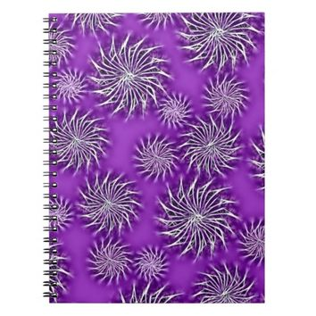 Spinning stars energetic pattern purple spiral notebook