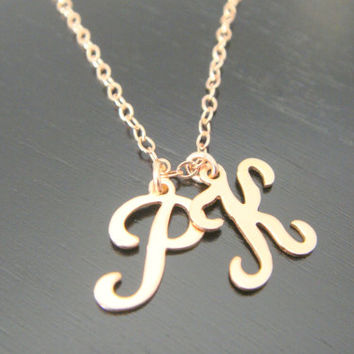 Rose Gold Tiny Two letter Necklace, Pink Gold Initial Necklace, Bridesmaids, Mother's Necklace, Kids Initials, Couple's Jewelry