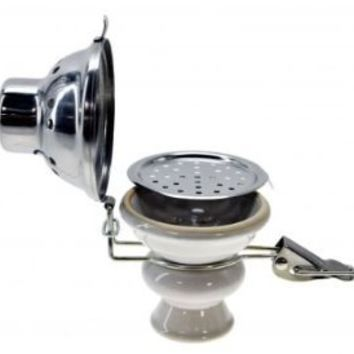 Hookah Shisha Bowl with Stainless Steel Wind Cover - WHITE Ceramic Bowl and Metal Screen for Hooka Nargila