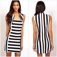 Sleeveless Stripes Strong Character Dress One Piece Dress [4919439364]