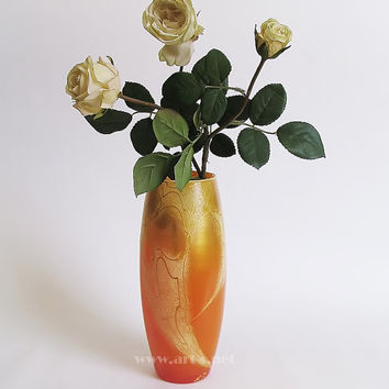 Hand painted glass orange vase. Unique Gift for wedding and birthday. Home decor. Gift for him. Gift for her. Orange with gold. Vase. Gift.