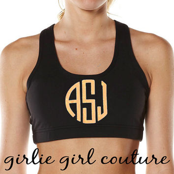Custom Glitter Circle Monogram Sports Bra - Cheer Dance Gymnastics - Multiple Colors Available