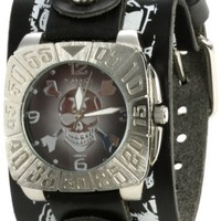 Nemesis Men's LMS907K Signature Skull Black Dial Leather Multi and skull Cuff Watch