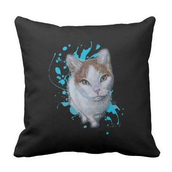 Drawing of Cat Art with Blue Paint Pillow