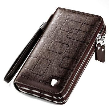 Genuine Leather Double Zipper Large Capacity Clutch Bag
