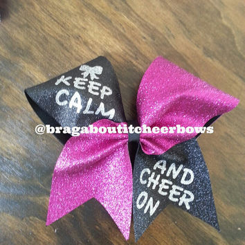 black and pink glitter keep calm and cheer on bow