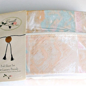 Full Sheet Set Croscill Desert Mist 1 Full Flat, 1 Full Fitted, 2 Pillowcases Vintage New in Plastic Package