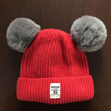 LMFXF7 Autumn and winter 5 months -3 years old baby children thicker wool hat Korean patch hair ball hat autumn and winter pullovers hat
