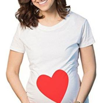 Maternity Heart Cute Baby Bump Love Pregnancy T Shirt for Expecting Moms