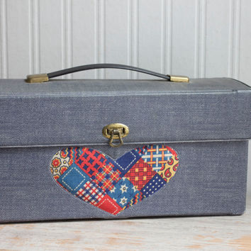 Vintage Vinyl Storage Box for Girls - 1960s Denim Patchwork Heart