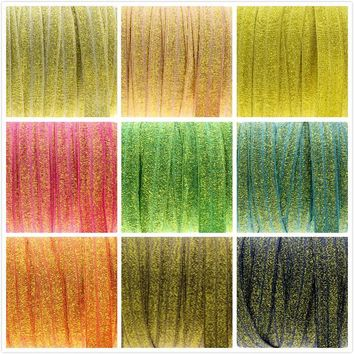 """ROLL / Solid metallic 5/8"""" fold over elastic FOE / 50 yards - 10 color choices"""