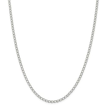 925 Sterling Silver 3mm Half Round Wire Curb Chain Necklace, Bracelet or Anklet
