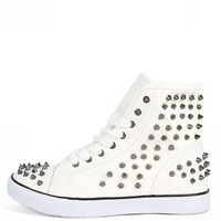 Punk-3a White Spike Studded High Top Sneakers | MakeMeChic.com