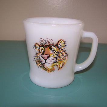 Anchor Hocking, Fire King, Milk Glass Mug, Vintage Esso the Tiger Mug Mid Century Exxon  Put a Tiger in Your Tank Coffee Cup