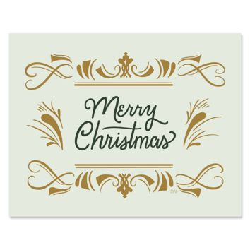 Elegant Retro Merry Christmas - Print & Canvas