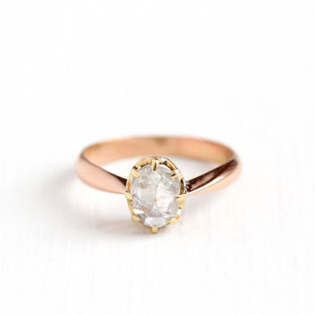 Antique 14k Rose & Yellow Gold 1/2 Carat Rose Cut Diamond Solitaire Ring - Size 4 1/2 Vintage Early 1900s Engagement Promise Fine Jewelry