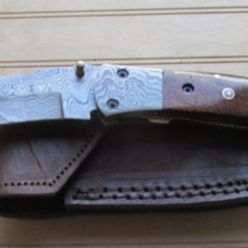 "Warren"" Custom Damascus Steel  Folding Knife With Pocket Clip, WALNUT Handle, Damascus Bolsters, Liner Locking"