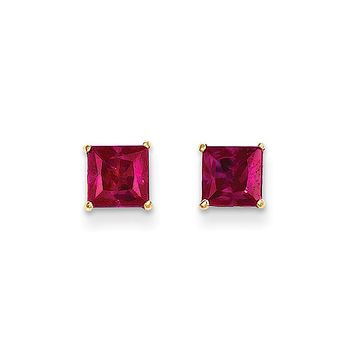 14k Yellow Gold Ruby Stud Earrings - 1mm
