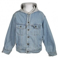 Denim Jacket With Grey Hoodie by Lee - Vintage clothing from Rokit -