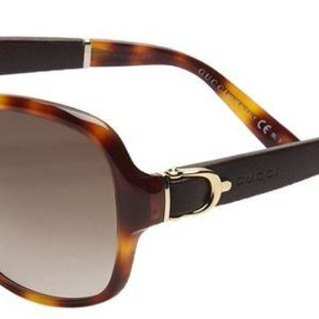 DCK4S2 Gucci Women's GG 3638/S Tortoise Brown Gradient Oversized Stirrup Sunglasses