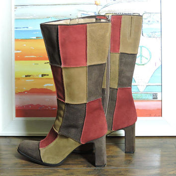 Vintage patchwork leather boots / size 7.5 / retro suede brown red boots / boho hippie festival boots