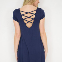 Strappy Back Cap Sleeve Dress
