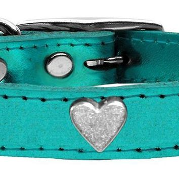 Silver Heart Widget Genuine Metallic Leather Dog Collar Turquoise 10