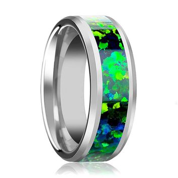 Tungsten Opal Ring - Green Blue Opal Inlay - Tungsten Wedding Band - Beveled - Polished Finish - 6mm - 8mm - Tungsten Wedding Ring
