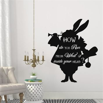 Cartoon Alice In Wonderland Rabbit In How Do You Run Quotes Wall Decals Kids Bedroom Home Art Decor Vinyl Creative Mural
