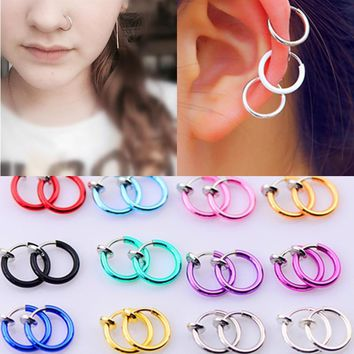 Fashion Hot sale 16 Colors Stealth Clip On Earrings For Women Men NO Hole Clip earrings ear cuff nose navel clips folder