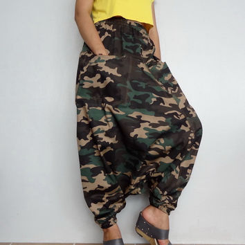 Army CAMO Print Harem Drop Crotch Pant,Unisex Baggy Trouser,Blend Denim (pants-C4).