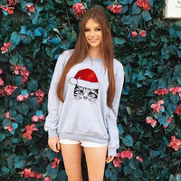 Print Casual Hoodies Christmas Cat Lovely Sweatshirt [9503895108]