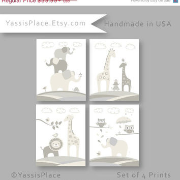 ON SALE Nursery Decor in Off White and Gray,  Safari Animals, Set of 4 prints, great baby shower gift for boy or girl, by YassisPlace